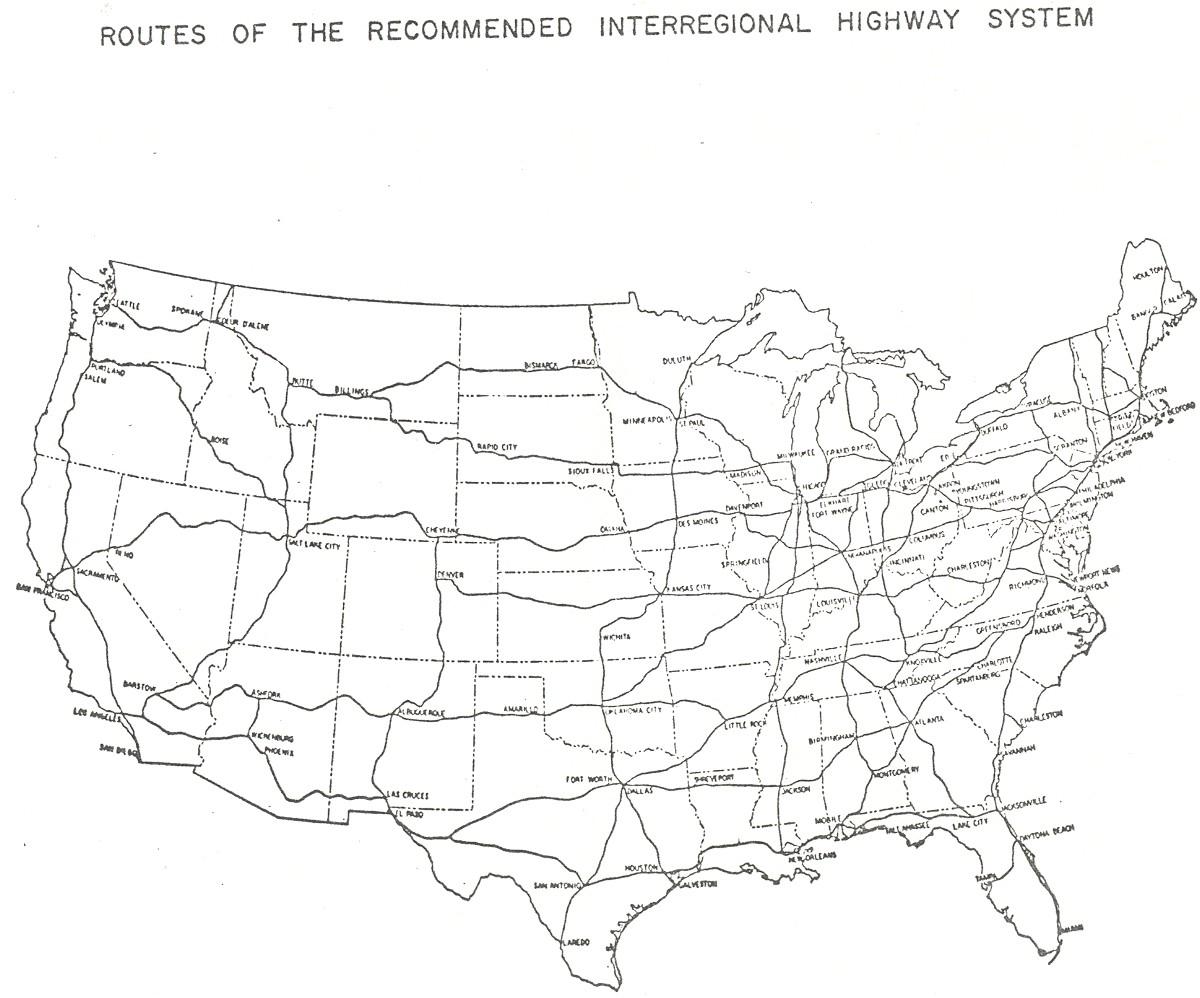 highway development dated 1939 interregional highways