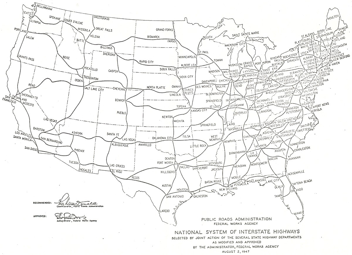1943 proposed national system of interstate highways